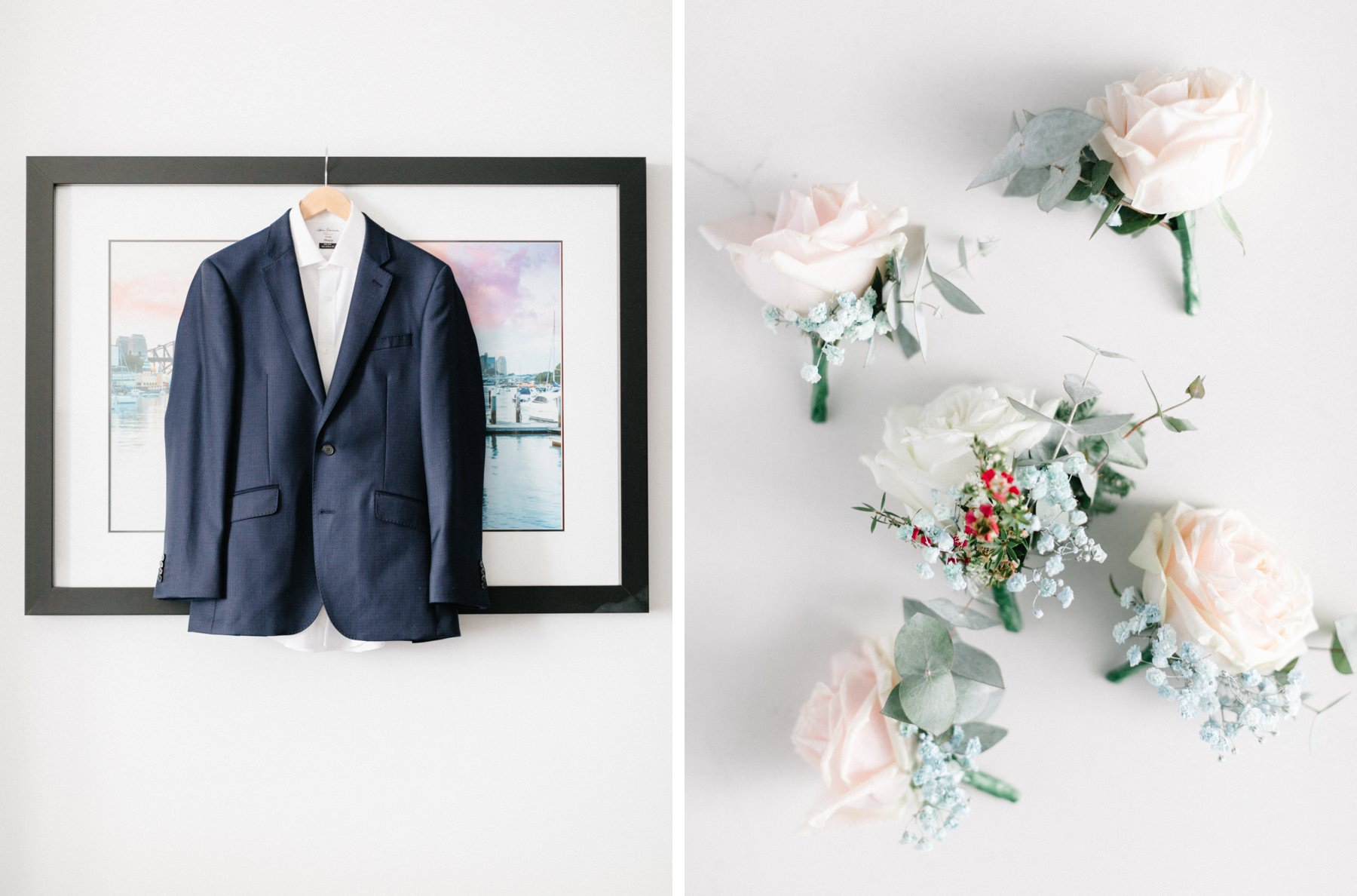 groom suit and buttonholes boutonniere wedding flowers