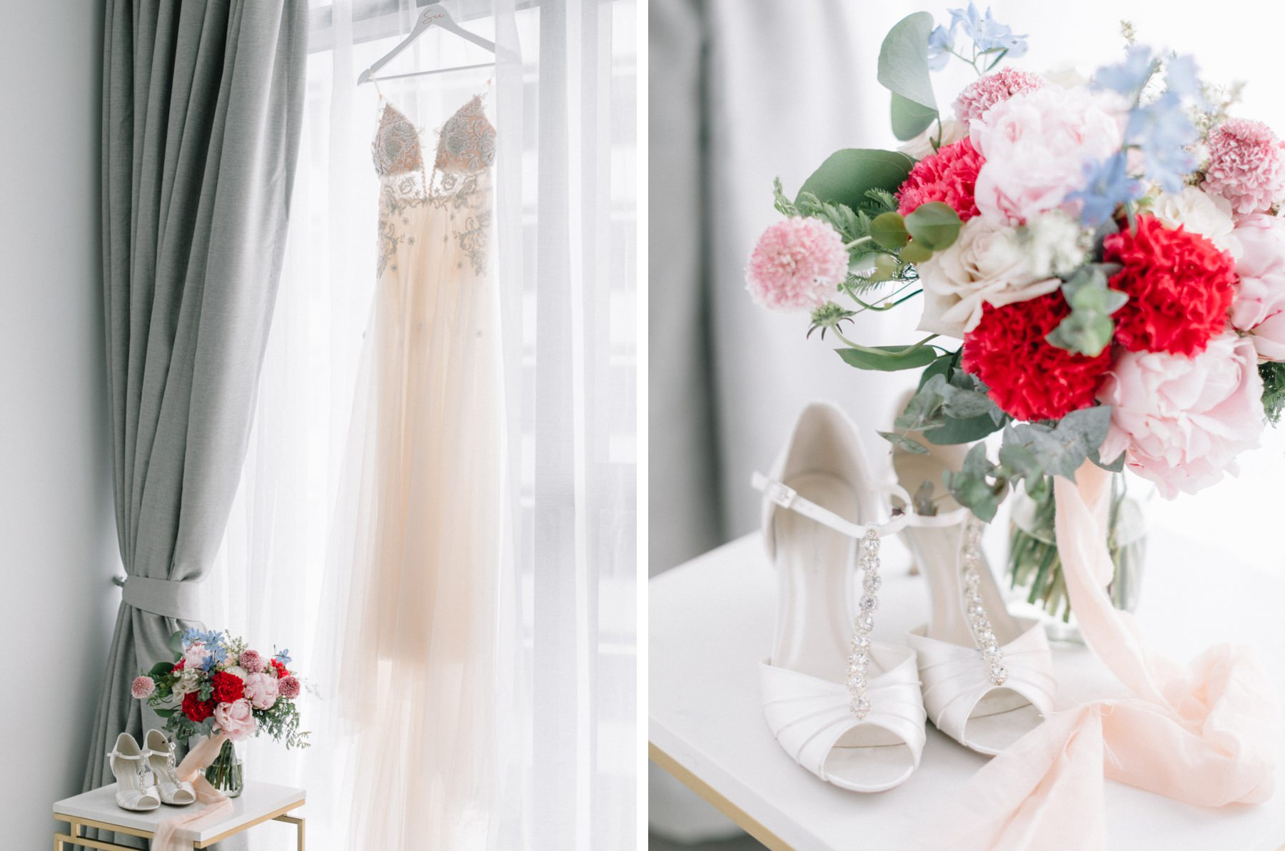 wedding dress and wedding flowers
