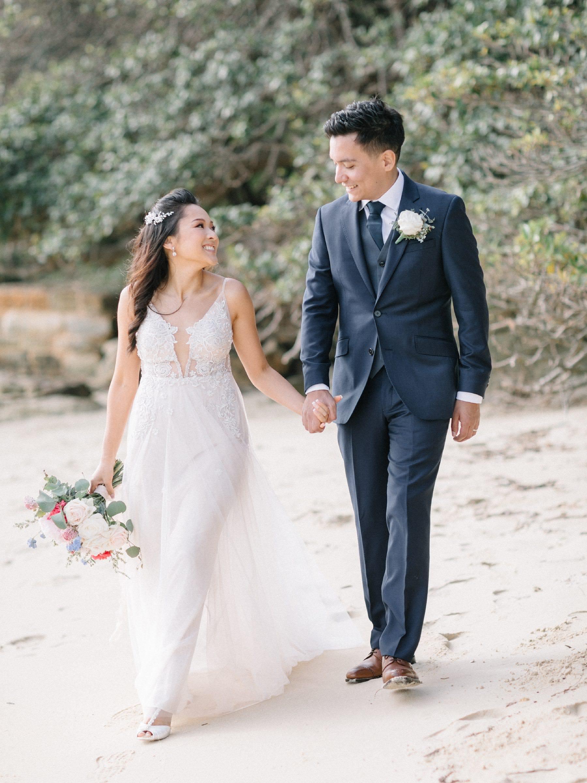 sydney wedding couple on the beach